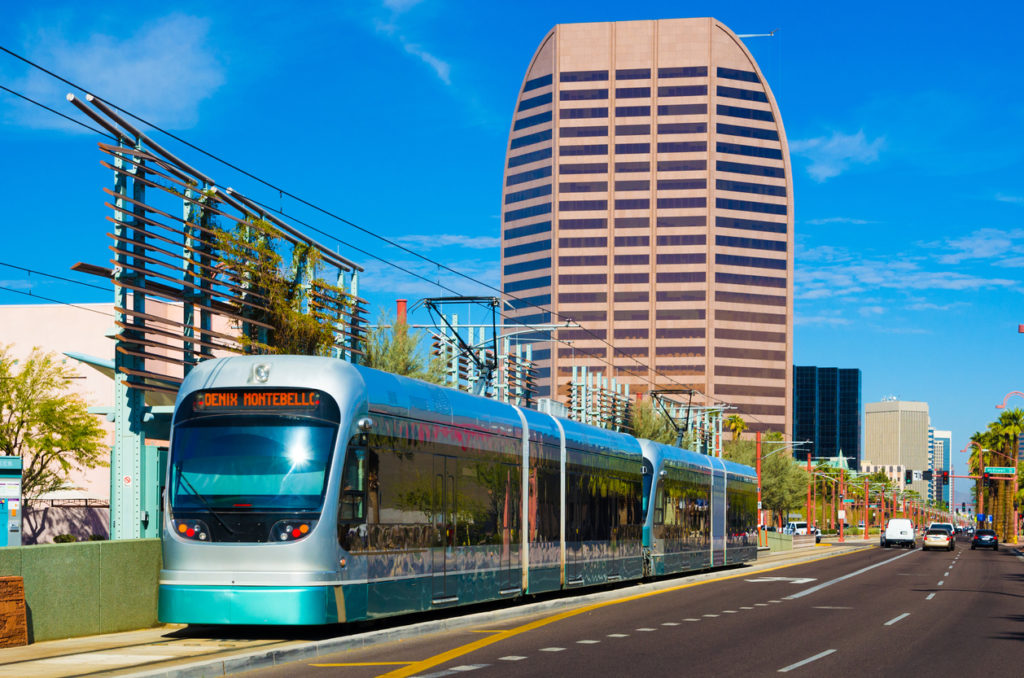 Tram and mid-rise building in North Central Phoenix Arizona